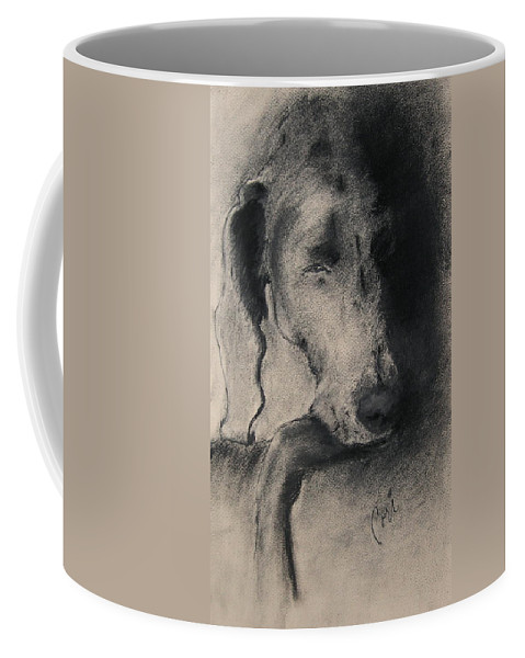 Weimaraner Coffee Mug featuring the drawing Silhouette by Cori Solomon