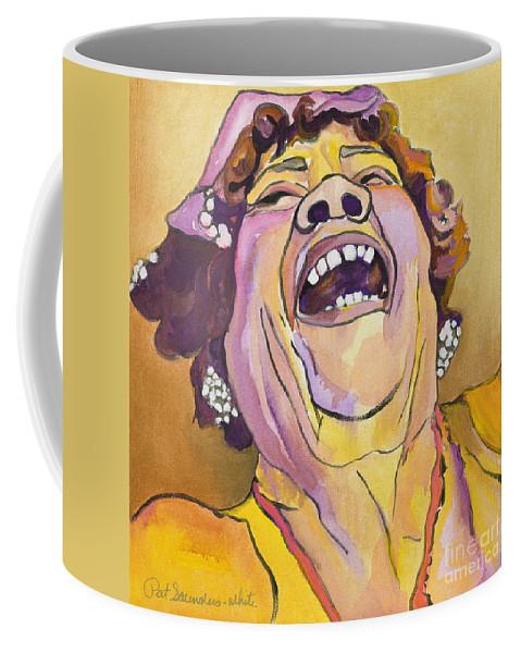 Pat Saunders-white Coffee Mug featuring the painting Singing The Blues by Pat Saunders-White