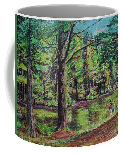 Family Coffee Mug featuring the pastel Sisters At Wason Pond by Sean Connolly
