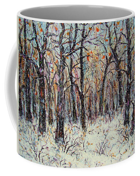 Landscape Coffee Mug featuring the painting Snowing In The Forest by Natalie Holland