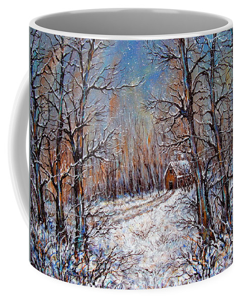 Landscape Coffee Mug featuring the painting Snowing in the Woods by Natalie Holland