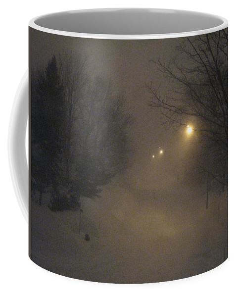 Snow Coffee Mug featuring the photograph Snowy Night by Mary Ellen Mueller Legault