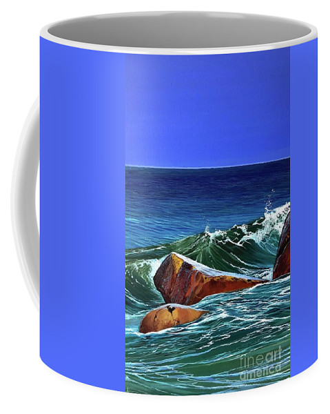 Ocean Coffee Mug featuring the painting Song of the Sea by Hunter Jay