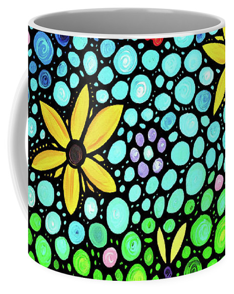Floral Coffee Mug featuring the painting Spring Maidens Large Size Flower Mosaic Art by Sharon Cummings