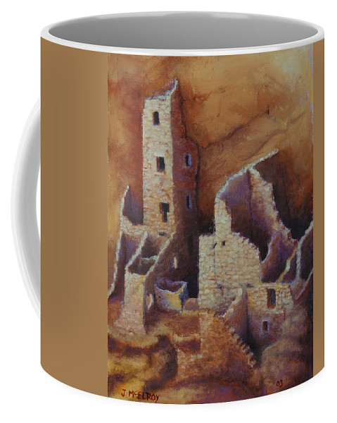 Anasazi Coffee Mug featuring the painting Square Tower Ruins by Jerry McElroy