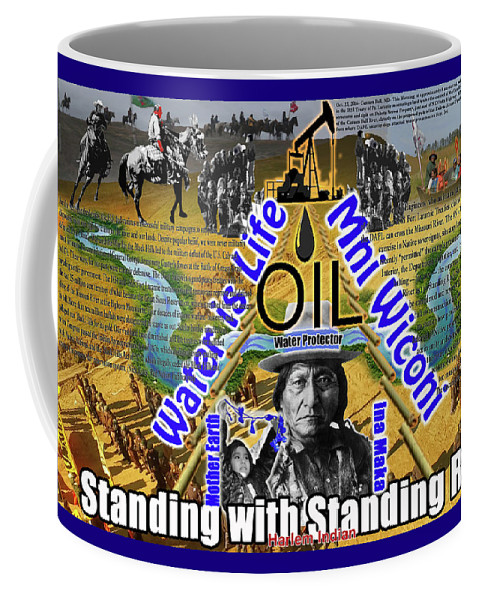 Standing Rock Coffee Mug featuring the digital art Standing With Standing Rock by Robert Running Fisher Upham