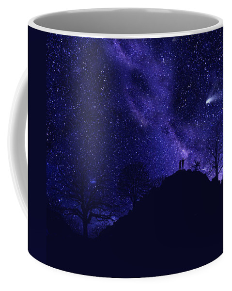 Starry Couple Coffee Mug featuring the painting Starry Couple Pointing Mural by Frank Wilson