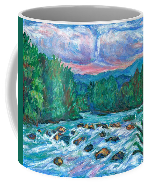 Landscape Coffee Mug featuring the painting Stepping Stones on the New River by Kendall Kessler