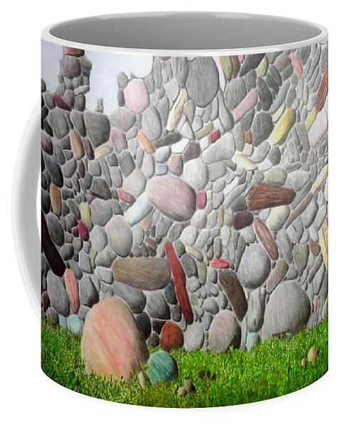 Stones Coffee Mug featuring the painting Stoned Wall by A Robert Malcom