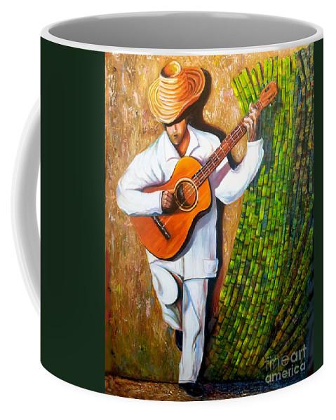 Cuban Art Coffee Mug featuring the painting Sugarcane Worker by Jose Manuel Abraham