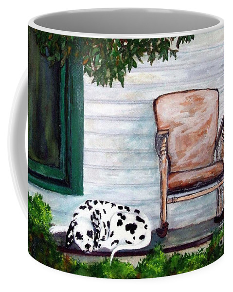 Dog Coffee Mug featuring the painting Summer Evening by Jacki McGovern