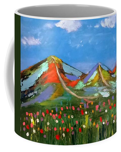 Malvern Hills Coffee Mug featuring the painting Summer on the Malvern Hills by Rusty Gladdish