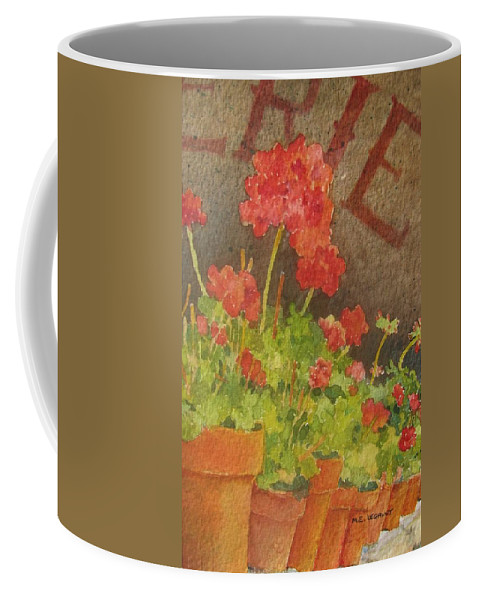 Geraniums Coffee Mug featuring the painting Summers End by Mary Ellen Mueller Legault