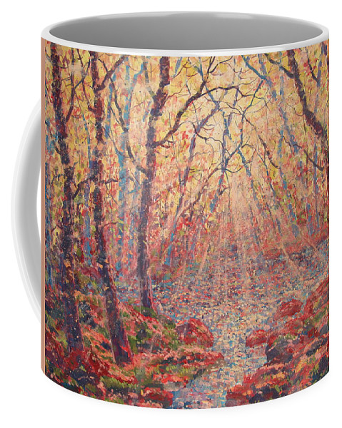 Painting Coffee Mug featuring the painting Sun Rays Through The Trees. by Leonard Holland