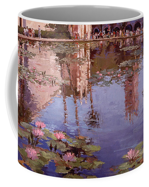 Water Lily Paintings Coffee Mug featuring the painting Sunday Reflections - Balboa Park by Betty Jean Billups