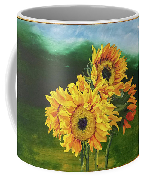 Sunflowers Coffee Mug featuring the painting Sunflowers For Tati by Brittany Bert Selfe