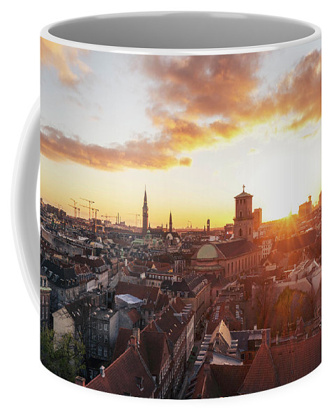City Coffee Mug featuring the photograph Sunset above Copenhagen by Hannes Roeckel