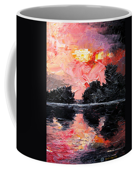 Lake After Storm Coffee Mug featuring the painting Sunset. After storm. by Sergey Bezhinets