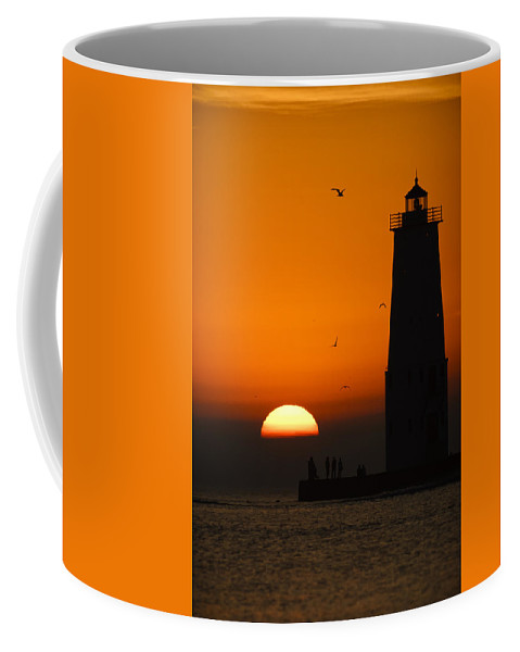 3scape Coffee Mug featuring the photograph Sunset at Frankfort North Breakwater Lighthouse by Adam Romanowicz