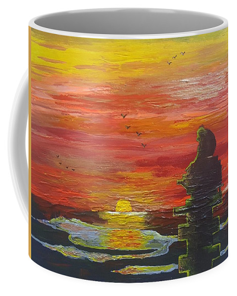Sunset Baboon Coffee Mug featuring the painting Sunset Baboon by Quintus Curtius