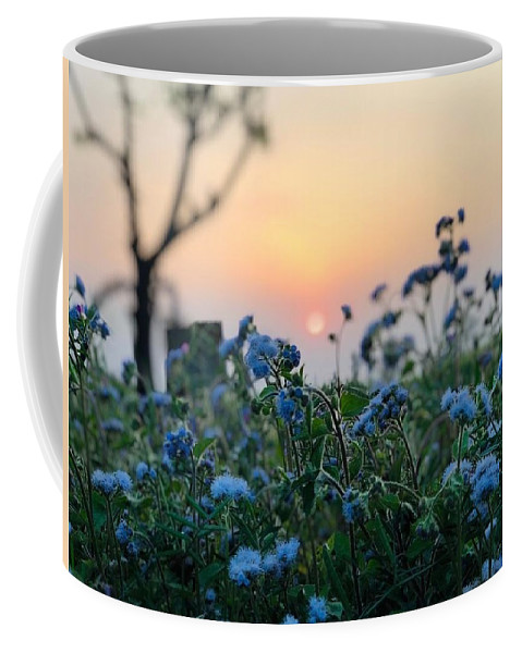 Flowers Coffee Mug featuring the photograph Sunset Behind Flowers by Prashant Dalal