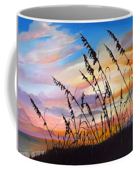 Ocean Painting Coffee Mug featuring the painting Sunset Fort Desoto Beach by Karin Dawn Kelshall- Best