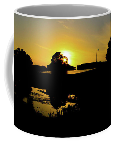 Landscape Coffee Mug featuring the digital art Sunset over Building by Daniel Cornell