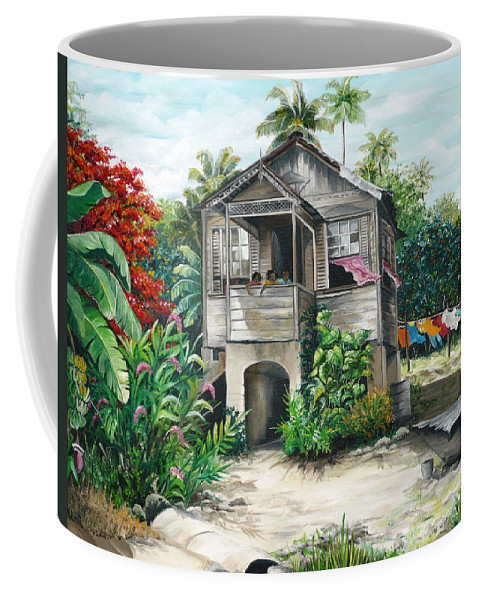 Landscape Painting Caribbean Painting House Painting Tobago Painting Trinidad Painting Tropical Painting Flamboyant Painting Banana Painting Trees Painting Original Painting Of Typical Country House In Trinidad And Tobago Coffee Mug featuring the painting Sweet Island Life by Karin Dawn Kelshall- Best