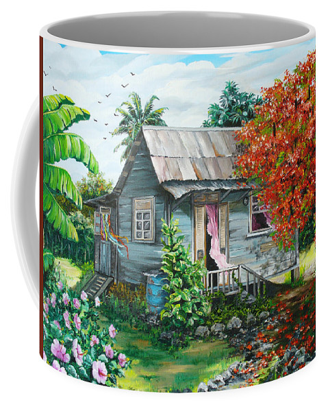 Caribbean Painting Original Painting Trinidad And Tobago ..house Painting Flamboyant Tree Painting Red Blossoms Painting Floral Painting Tree Painting Tropical Painting Coffee Mug featuring the painting Sweet Tobago Life. 2 by Karin Dawn Kelshall- Best