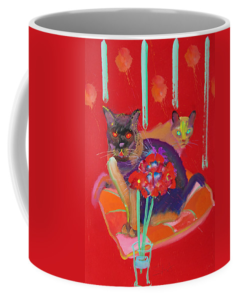 Burmese Cat Coffee Mug featuring the painting Symphony In Red Two by Charles Stuart