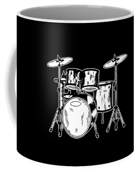 Drummer Coffee Mug featuring the digital art Tempo Music Band Percussion Drum Set Drummer Gift by Haselshirt