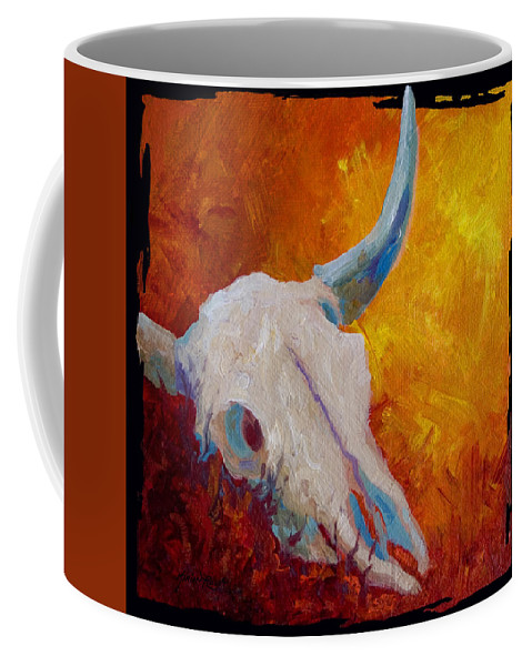 Longhorn Coffee Mug featuring the painting Texas Longhorn Skull by Marion Rose