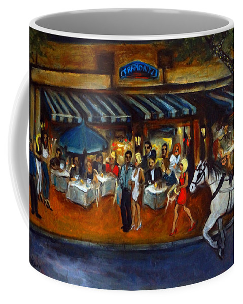 Street Scene Coffee Mug featuring the painting The Avenue by Valerie Vescovi