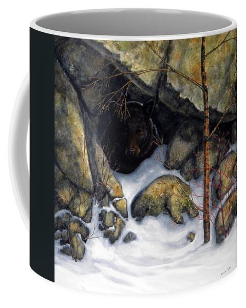 Wildlife Coffee Mug featuring the painting The Encounter Black Bear by Frank Wilson
