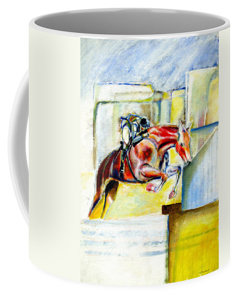 Horse Coffee Mug featuring the painting The Equestrian Horse and Rider by Tom Conway