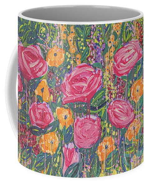 English Garden Coffee Mug featuring the painting The Garden by Amanda Armstrong