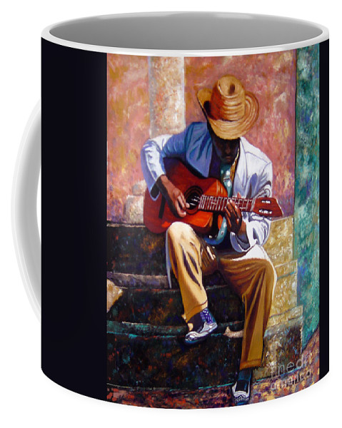Cuban Art Coffee Mug featuring the painting The Guitar Player by Jose Manuel Abraham