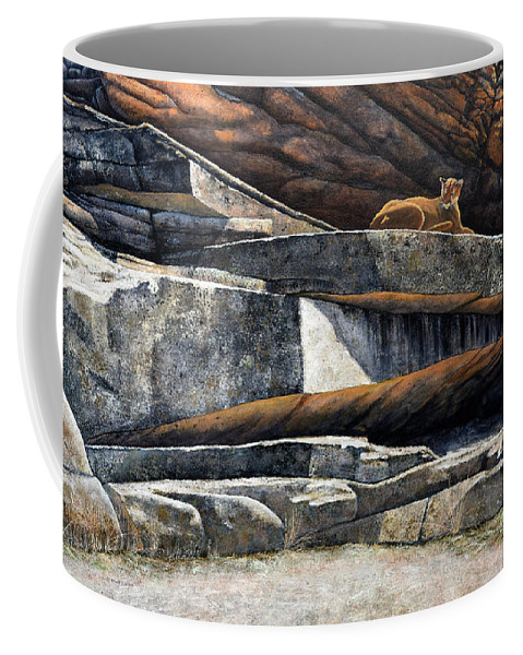 Wildlife Coffee Mug featuring the painting The Loner Cougar by Frank Wilson