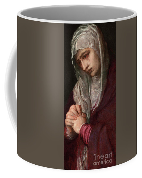 Titian Coffee Mug featuring the painting The Mater Dolorosa by Titian