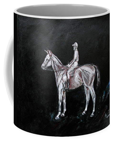Horse Coffee Mug featuring the painting The Outsider by Tom Conway