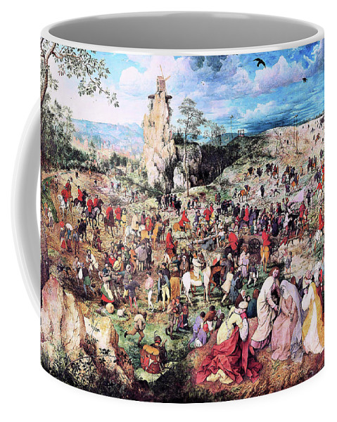 The Procession To Calvary Coffee Mug featuring the painting The Procession To Calvary - Digital Remastered Edition by Pieter Bruegel
