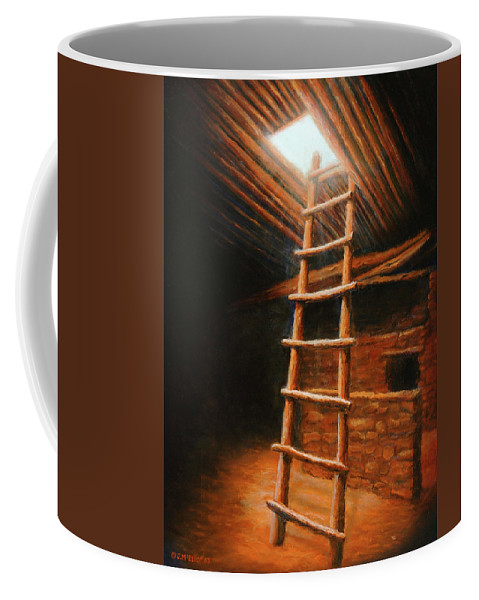Kiva Coffee Mug featuring the painting The Second World by Jerry McElroy