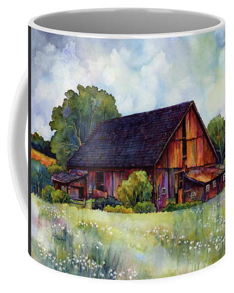 Barn Coffee Mug featuring the painting This Old Barn by Hailey E Herrera