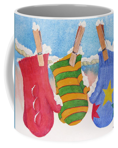 Christmas Card Coffee Mug featuring the painting Three Little Mittens by Mary Ellen Mueller Legault