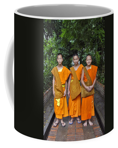 3scape Coffee Mug featuring the photograph Three Young Monks by Adam Romanowicz