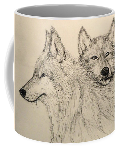 Wolves Coffee Mug featuring the drawing Timberwolf by Pete Maier