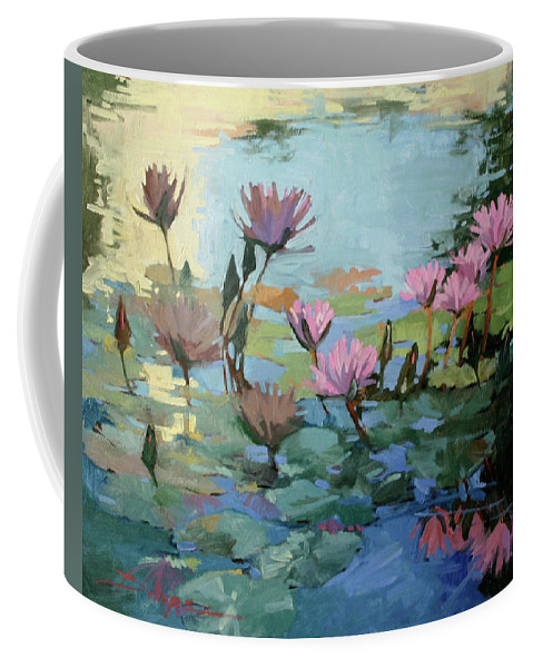 Floral Coffee Mug featuring the painting Times Between - water Lilies by Betty Jean Billups