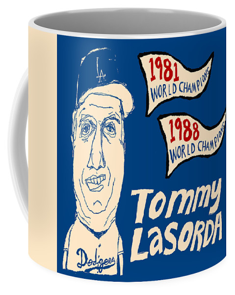 Los Angeles Dodgers Coffee Mug featuring the painting Tommy Lasorda Los Angeles Dodgers by JB Perkins