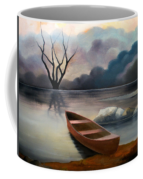 Duck Coffee Mug featuring the painting Tranquility by Sergey Bezhinets