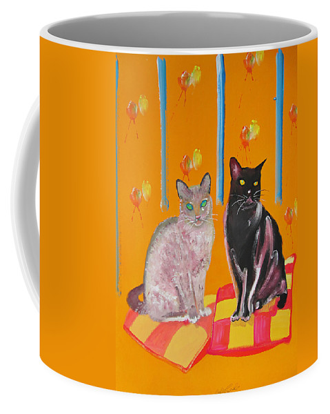 Cats Coffee Mug featuring the painting Two Oriental Cats by Charles Stuart